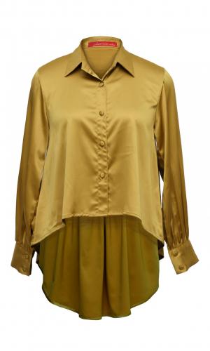 Olive Back Drop Satin Shirt
