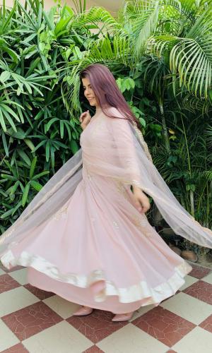 Blush Pink Chiffon Anarkali