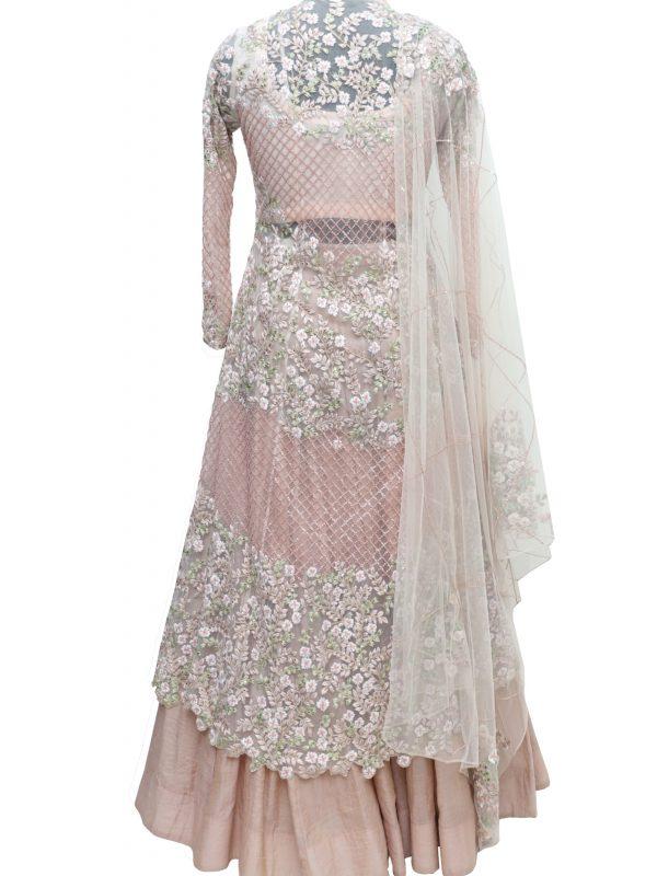 Blush Asymmetric Achkan With Kora Silk Skirt