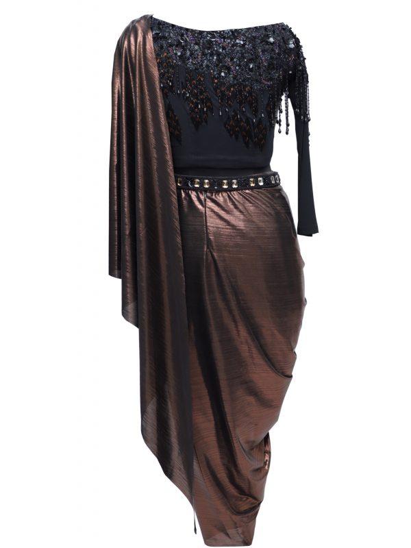 Black Crop Top With Metallic Saree