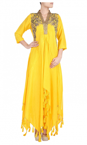 Yellow Asymmetric Silk Dress