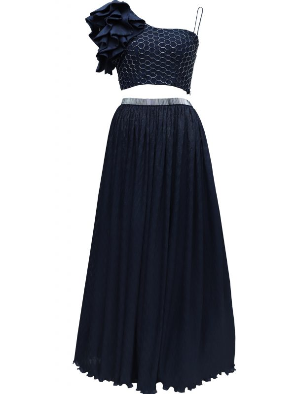 Navy Crop Top With Crinkled Skirt