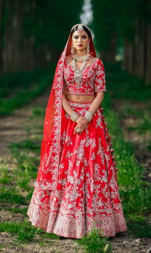 Red Paisley Jaal Embroidery Bridal Lehnga