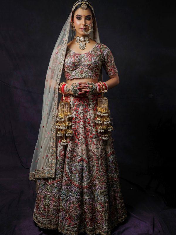 Beige Grey Multicoloured Embroidery Bridal Lehnga