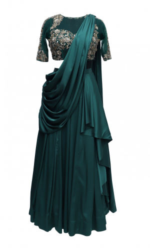 Bottle Green Satin Lehnga With Zardozi Embroidery
