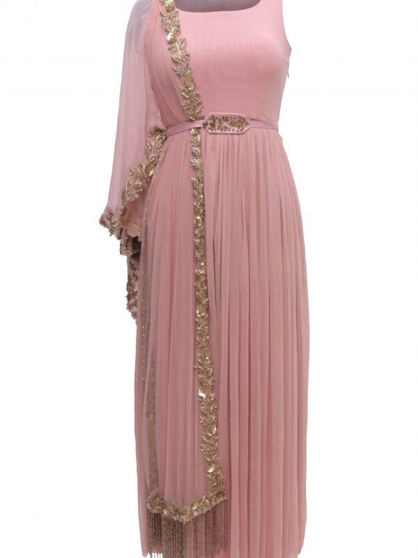 Blush Pink Lycra Maxi With Zardozi Embroidery